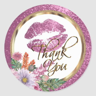 Floral Pink Glitter Kiss Proof Lips Classic Round Sticker
