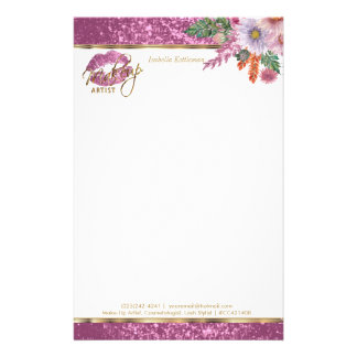 Floral Pink Glitter Kiss Proof Lips Stationery