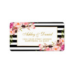 """Floral Pink Gold Black White Stripes Wedding Label<br><div class=""""desc"""">Watercolor Floral Pink Blush Gold and Black &amp; White Stripes Wedding Return Address Labels</div>"""