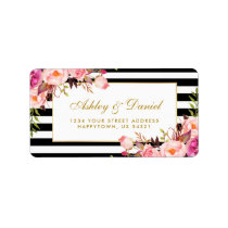 Floral Pink Gold Black White Stripes Wedding Label