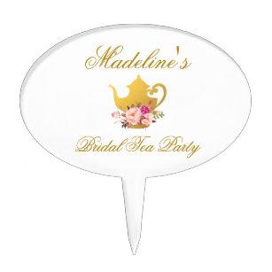 floral pink gold bridal shower tea party cake topper