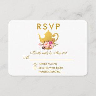 floral pink gold bridal shower tea party rsvp