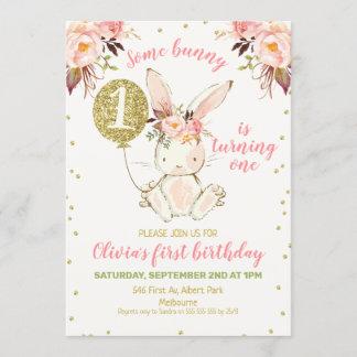 Floral Pink Gold Bunny 1st Birthday Invitation