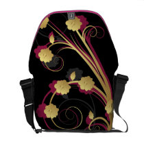 floral pink gold elegance messenger bag