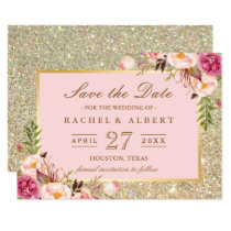 Floral Pink Gold Glitter Wedding Save the Date