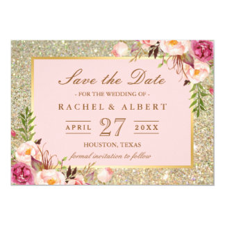 Floral Pink Gold Glitter Wedding Save the Date Card