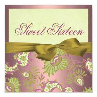 Floral Pink & Gold shimmer Birthday Invitation