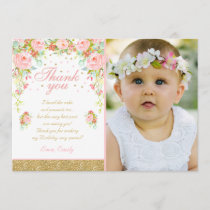 Floral Pink Gold Thank You Card Pink & Gold