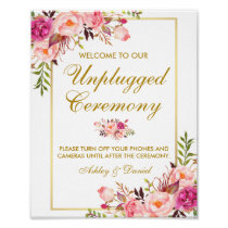 Floral Pink Gold Wedding Ceremony Unplugged Poster