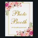 "Floral Pink Gold Wedding Photo Booth Poster<br><div class=""desc"">Watercolor Floral Pink Blush Gold Wedding Photo Booth Poster</div>"