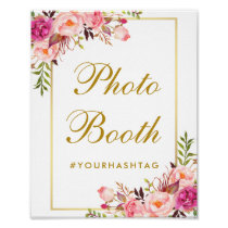 Floral Pink Gold Wedding Photo Booth Poster