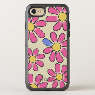 Floral Pink Graphical on any Color OtterBox Symmetry iPhone 7 Case
