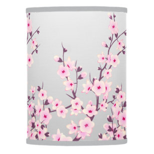 Perfect Floral Pink Gray Cherry Blossoms Table Lamp