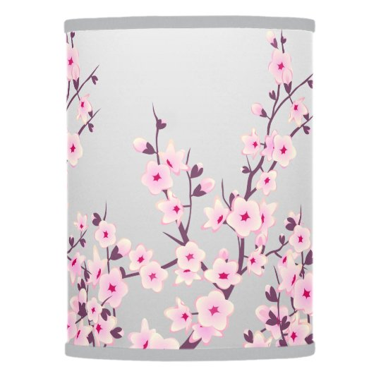 Floral Pink Gray Cherry Blossoms Table Lamp Zazzle Com