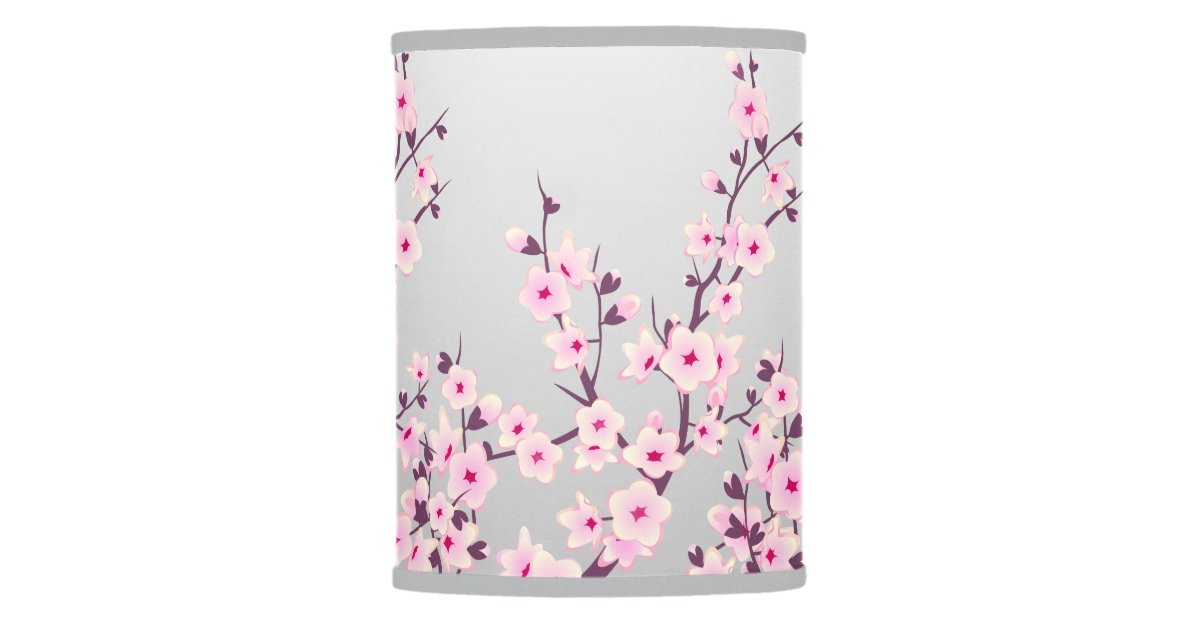 Pink Gray Cherry Blossoms Table Lamp