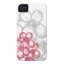 floral pink gray iPhone 4 cover
