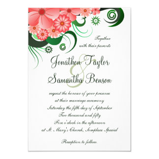 "Floral Pink Hibiscus 5"" x 7"" Wedding Invitations"