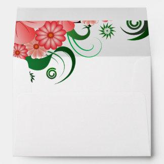 Floral Pink Hibiscus Elegant Custom Envelopes