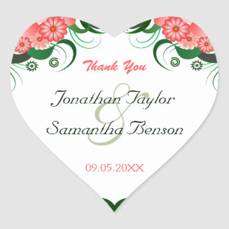 Floral Pink Hibiscus Heart Wedding Favor Stickers