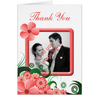 Floral Pink Hibiscus Photo Wedding Thank You Cards