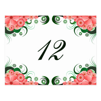 Floral Pink Hibiscus Reception Table Number Card