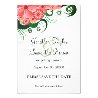 Floral Pink Hibiscus Save The Date Announcments 5x7 Paper Invitation Card