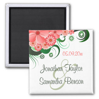 Floral Pink Hibiscus Save The Date Fridge Magnets