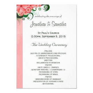 Floral Pink Hibiscus Wedding Program Templates