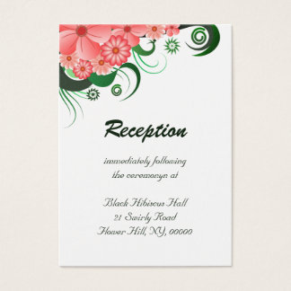 Floral Pink Hibiscus Wedding Reception Enclosure Business Card