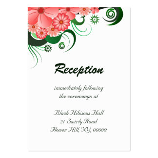 Floral Pink Hibiscus Wedding Reception Enclosures Large Business Cards (Pack Of 100)