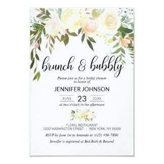 Floral Pink Ivory Brunch & Bubbly Bridal Shower Invitation