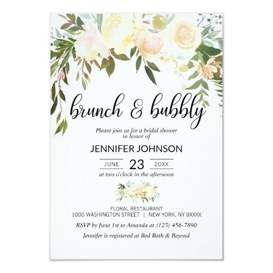 Floral Pink Ivory Brunch & Bubbly Bridal Shower Invitation