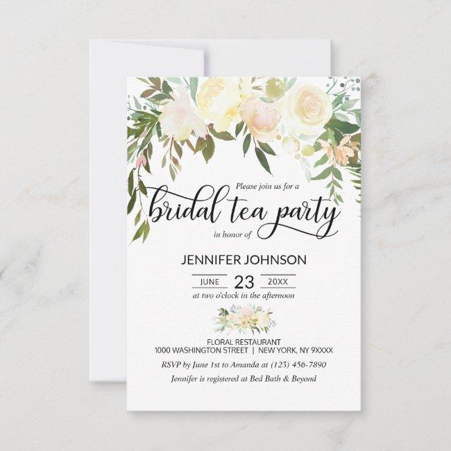 Floral Pink Ivory Cream Bridal Shower Tea Party Invitation