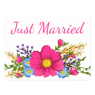 Floral Pink Just Married Watercolor Wedding Flower Postcard