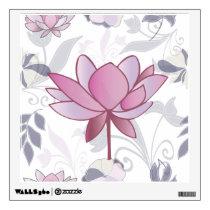 Floral pink lotus pattern wall sticker