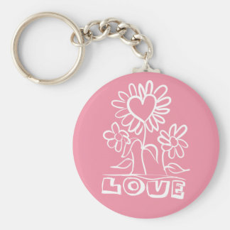 Floral Pink Love Flowers & Hearts Keychain
