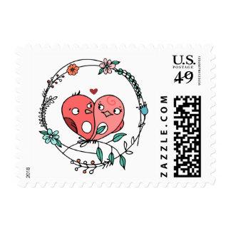 Floral Pink Lovebirds Love Wedding / Bridal Shower Postage