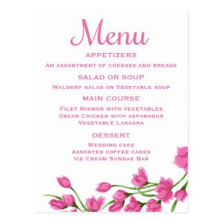 Floral Pink Menu Card Fuchsia & White Flowers
