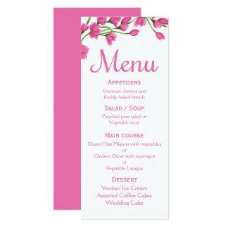 Floral Pink Menu Fuchsia Flower Wedding / Party Card
