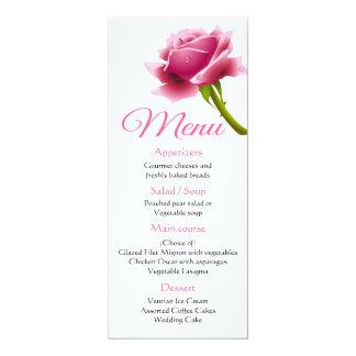 Floral Pink Menu Rose Flower Wedding / Party Card