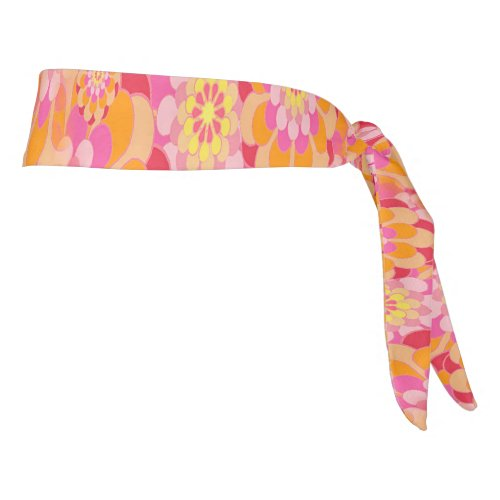 Floral Pink Orange Groovy Hippy Psychedelic Tie Headband