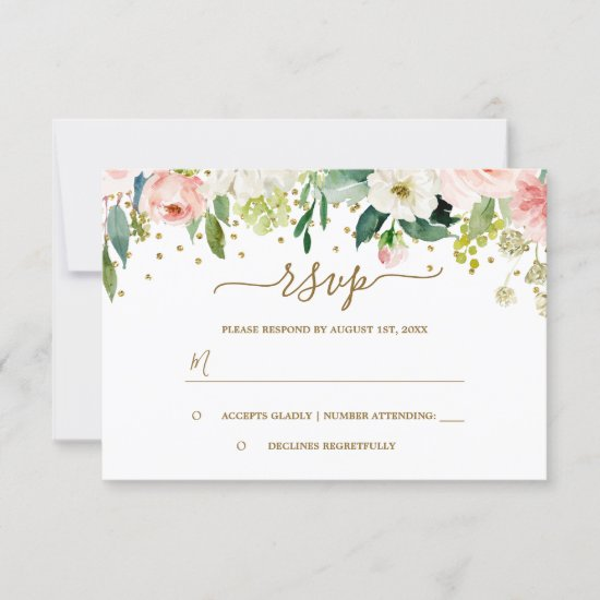 Floral Pink Peach Gold Confetti RSVP