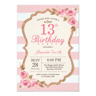 Floral Pink Peonies 13th Birthday Party Invitation