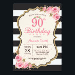 "Floral Pink Peonies 90th Birthday Party Invitation<br><div class=""desc"">Floral Pink Peonies 90th Birthday Party Invitation for women. Gold Glitter. Blush Watercolor Floral Flower Chic. Black and White Stripes. 13th 15th 16th 18th 20th 21st 30th 40th 50th 60th 70th 80th 90th 100th, Any Ages. Printable Digital. For further customization, please click the ""Customize it"" button and use our design...</div>"