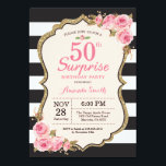 """Floral Pink Peonies Surprise 50th Birthday Party Invitation<br><div class=""""desc"""">Floral Pink Peonies Surprise 50th Birthday Party Invitation for women. Gold Glitter. Blush Watercolor Floral Flower Chic. Black and White Stripes. 13th 15th 16th 18th 20th 21st 30th 40th 50th 60th 70th 80th 90th 100th, Any Ages. Printable Digital. For further customization, please click the """"Customize it"""" button and use our...</div>"""