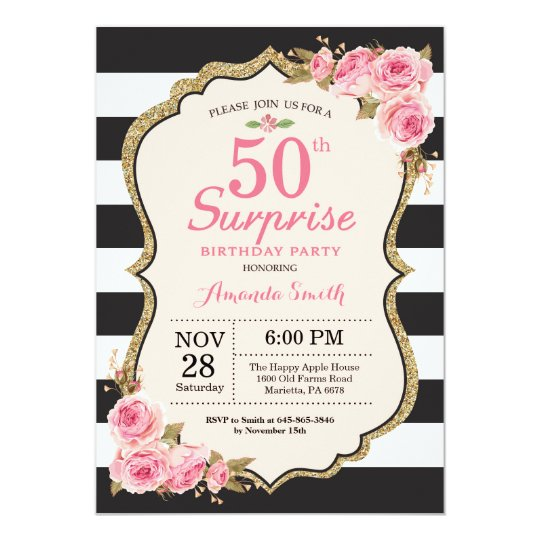Floral Pink Peonies Surprise 50th Birthday Party Invitation