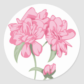 Floral Pink Peony Flower Bouquet Classic Round Sticker