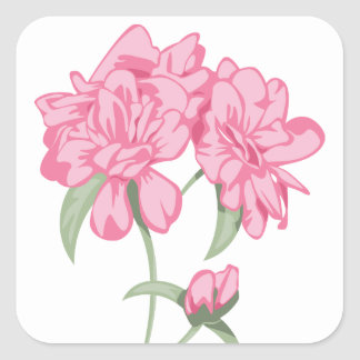 Floral Pink Peony Flower Bouquet Square Sticker