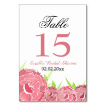 Floral pink Personalized table numbers