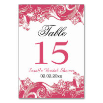 Floral pink Personalized table numbers Card
